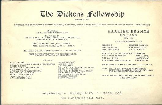 Briefhoofd van The Dickens Fellowship: Haarlem Branch met 32 namen (en in ons land 80 leden).