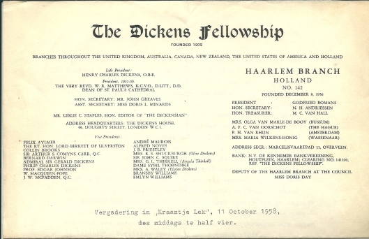 Briefhoofd van The Dickens Fellowship: Haarlem Branch met 32 namen  (en in ons land 80 leden).