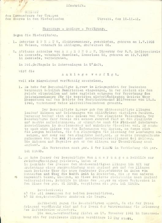 Duitse aanklacht tegen E.Spreeuw en A.A.van Amerongen de dato 12 november 1941