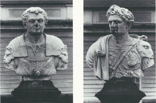 Twee borstbeelden van Bartholomeus Eggers, circa 1674. Links keizer Otho en rechts keizer Domitianus, te vinden in de tuin van kasteel Charlottenburg bij Berlijn.