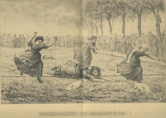 Vrouwelijke biggenvangsters in Heemstede tijdens het jaarlijke volksfeest eind 19e eeuw