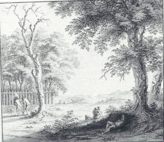 De wildernis rondom de overtuin van de Hartekamp op een tekening door G.van Rossum uit 1762 (Noord-Hollands Archief)