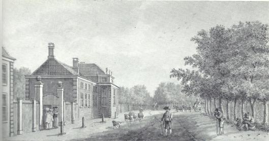 18e eeuwse tekening van de hofstede Meer en Berg door H.Schouten.