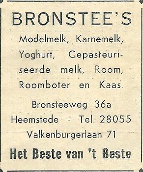 Advertentie melkerij Bronstee uit 1937