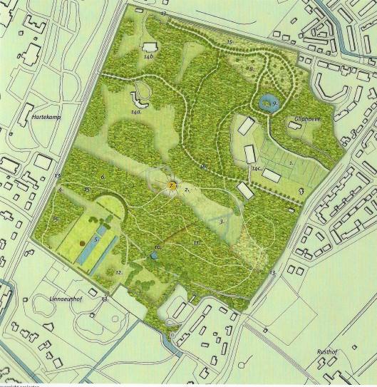 Kaart van Overplaats De Hartekamp door DS landschapsarchitecten, 2007