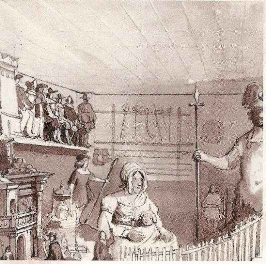 Wapenverzameling , detail uit Beeldenzaal in het Oude Doolhof, circa 1845. Pentekening van Willem Hekking jr. De laarzen van Alva en enkele schilden hingen bij het wapenrek waarin de steek- en slagwapens gerangschikt waren. Volgens Pfeiffers hing aan de overliggende wand een identiek rek.
