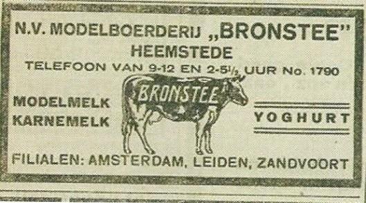 Advertentie van modelboerderij Bronstee uit 1921