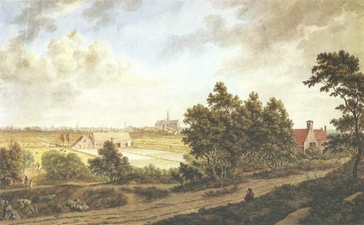 'Gezicht naar Haarlem', naar Jacob van Ruisdael; tekening van F.A.Milatz, circa 1795