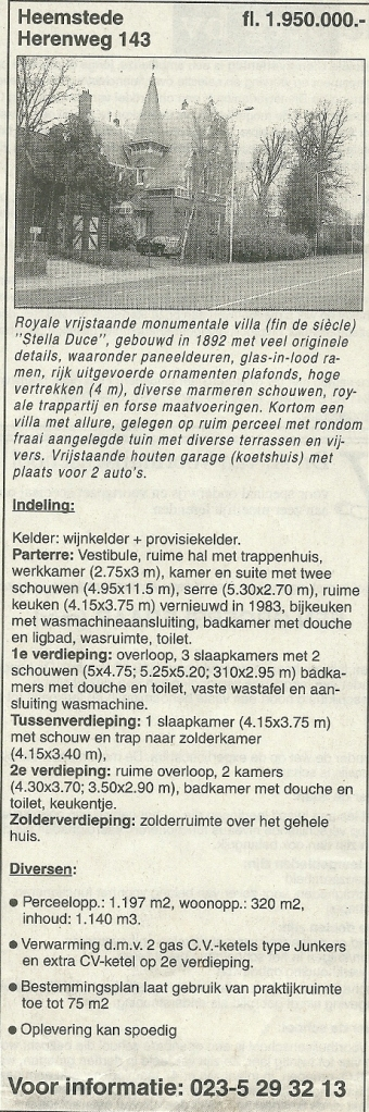 Advertentie verkoop 'Stella Duce' 8 april 2000 in het Haarlems Dagblad