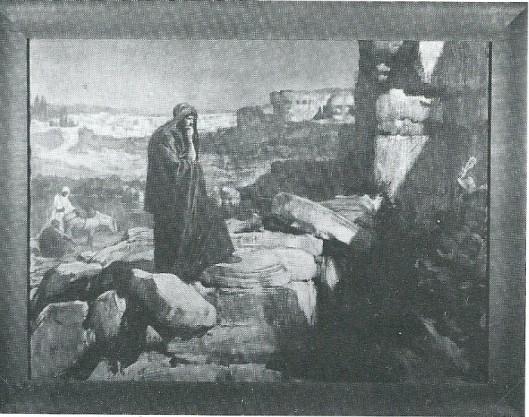 Ets van de profeet Nehemia treurend bij de muren van Jeruzalem op een ets van Josselin de Jong.