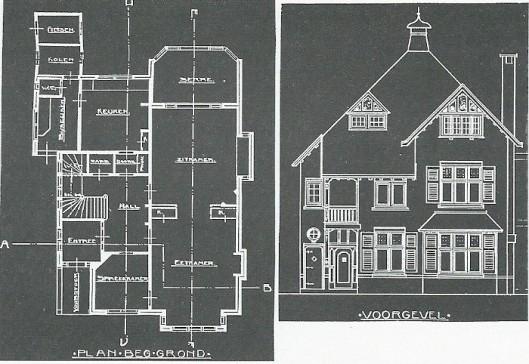 Bouwtekening van de vrijstaande villa Zomerluststraat 12, in 1912 ontworpen door Andries de Maaker