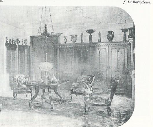 Foto uit begin 1900 van de toenmalige bibliotheekruimte op paleis Soestdijk