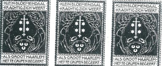 'Bloemendaals 'Bloei' liet door mej. B.Blake in de zomer van 1917 een sluitzegel vervaardigen met de tekst: 'Klein Bloemendaal krachtig zich weet, als groot Haarlem te grijpen begeert.' Afgebeeld is een grote krab, het wapen van Haarlem op haar schild voerende, die de kleine krab met het wapen van Bloemendaal op haar schild, tracht te omgrijpen, tegen welke poging het kleine diertje zich krachtig en met succes verzet. Iedere ingezetene van Bloemendaal ontving 24 exemplaren.