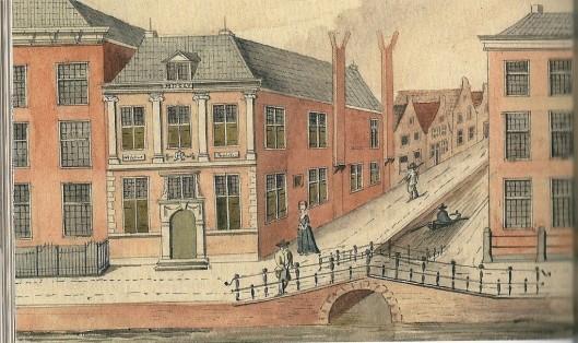 De Bibliotheca Thijsiana op een tekening door Jacob Timmermans uit omstreeks 1788