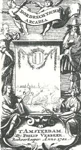 Titelblad van 'Dordrechtsche Arcadia' door L. van den Bos