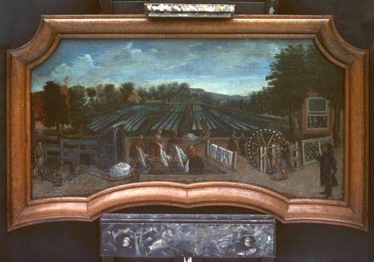 Schoorsteenstuk met voorstelling van de blekerij van Bijvoet aan de Korte Kleverlaan uit eind 18e eeuw.
