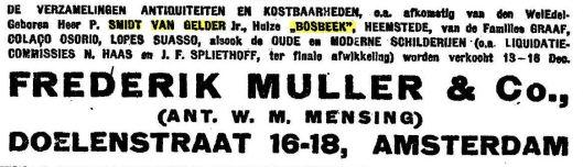 In 1921 liet P.Smidt van Gelder, eigenaar van Bosbeek, een deel van zijn verzameling antiquiteiten veilen bij Frederik Muller in Amsterdam (NRC, 26-11-1921)