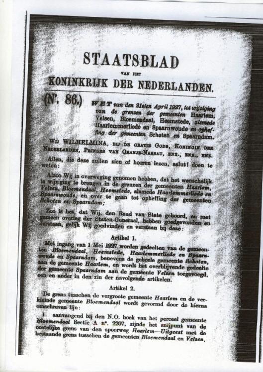 Eerste pagina van Staatsblad, wet van 21 april 1927 betreffende annexatie omgeving Haarlem.