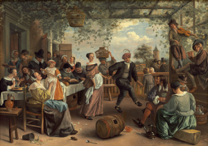 Dit schilderij, 'het dansende paar' hing tot 1794 in Bosbeek, waarna het overging aar Henry Hope en naar Londen verhuisde. Thans aanwezig in de National Gallery of Art.