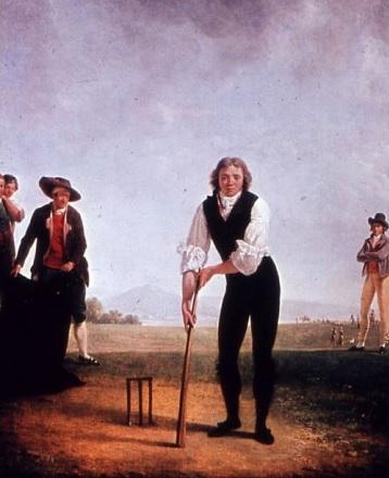 Thomas Hope (1769-1831), oudste zoon van John Hope werd geboren in Amsterdam en bracht zijn jeugd door wisselend aan de Keizersgracht en zomers in het landhuis Groenendaal. Na het overlijden van zijn moeder in 1794 keerde hij terug naar het land van zijn voorouders Engeland, zette het verzamelen van zijn vader voort en vestigde zich uiteindelijk in Deepdene, Surrey. Op dit schilderij van Jacques Henri Sablet (1749-1903) is hij als cricketer afgebeeld in de omgeving van Venetië