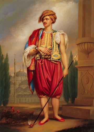 Thomas Hope reisde veel door Europa om zijn kunstverzameling uit te breiden. Op een doek uit 1798 van William Beechley is hij in Oriëntaalse kledij afgebeeld.
