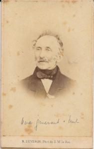 Generaal Bernard van Merlen (1800-1890) de oude (oud geworden). Circa 1875 (75 jaar)?