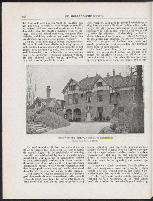 pagina uit een artikel van J.A.G.van der Steur, in: De Hollandsche Revue, 1907, nummer 4