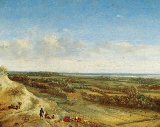 Jan Vermeer van Haarlem (1628-1691) Duinlandschap en blekerijveld, vermoedelijk bij Santpoort. Circa 1675. (Frans Hals Museum Haarlem)