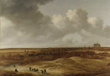 Uit de kring van Jan Vermeer van haarlem. Duinlandschap en in de verte de S. Bavo en het Spaarne. Schilderij in 1999 geveild in Londen voor 23.000 Britse pond.
