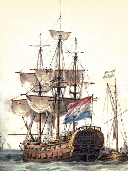 De Amstelveen was een spiegelretour-schip, zoals getekend door Gerrit Groenewegen