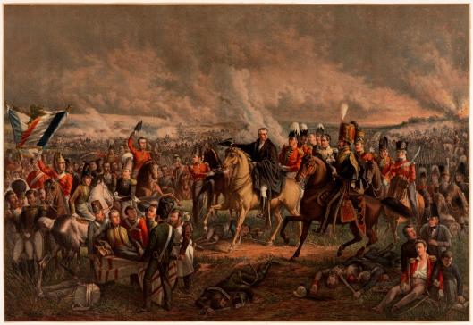 Litho uit 1850 naar het schilderij van J.W.Pieneman; 'De slag van Waterloo 18 juni 1815' in het Rijksmuseum. Te paard in het midden de hertog van Wellington. Links wordt de gewonde prins van Oranje weggedragen. Helemaal rechts staande naast de man te paard met Sabel (=kolonel Colborn) zien we v.l.n.r. generaal J.B.van Merlen, generaal Wood, generaal Chassé en luitenant-kolonel Tielen