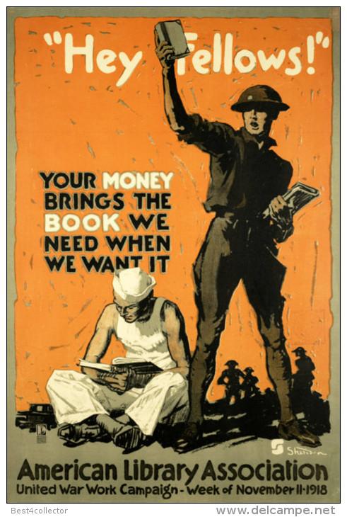Poster: kampbibliotheken voor soldaten (American Library Association)