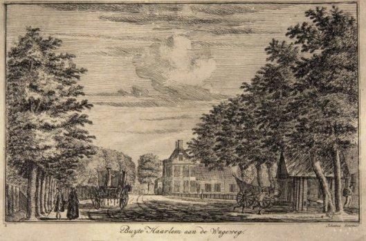 Gezicht op het buitenhuis Bosch en Vaart aan de Wagenweg in Heemstede. Ets door Johan Swertner, 1760