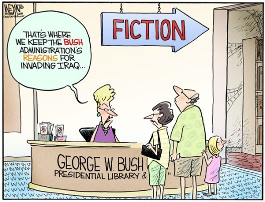 Cartoon George W.Bush Presidential Library