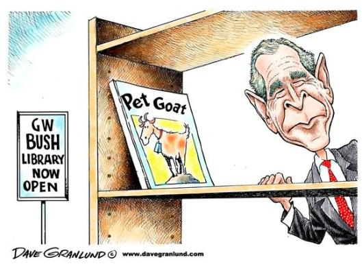 Cartoon George W.Bush Library