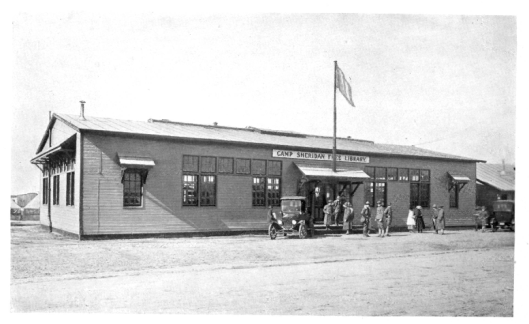 Soldiers library camp Sheridan Free Library, 1918