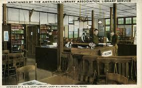 Interior of the ALA camp library camp MacArthur, Waco, Texas