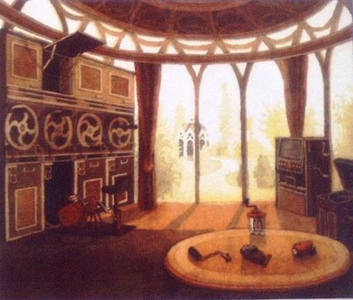 Nog een illustratie uit Eldorica van Jurriaan Andriessen. Interieur van een villa waar Eldoriëns nog maar vier uur per dag hoeven te werken.