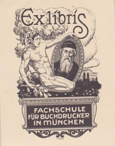Exlibris Fachschule für Buchdrücker in München
