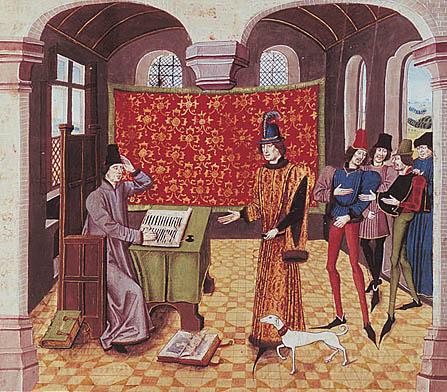 Froissart schrijvend aan zijn tafel en een graaf begroetend (miniastuur uit de Bibliothèque de l'Arsenal, Parijs)