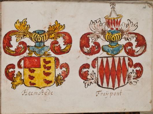 Links: het geslachtswapen van de ridders van Heemstede. Uit een manuscript liedboek H.van den Bosch 1680-1690 (Kon. Bibliotheek)