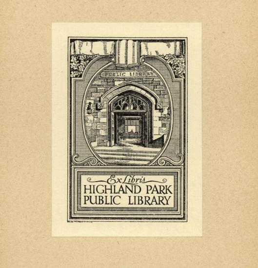 Bookplate Highland Park Public Library., Illinois. Design Ralph Fletcher Seymour, ca. 1900