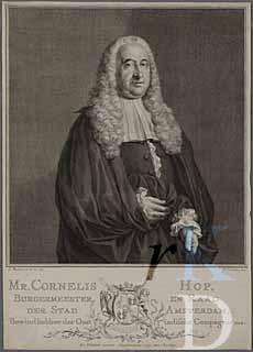 Cornelis Hop (1685-1762). Gravure door Jacob Houbraken uit 1758 (foto RKD-Den Haag)