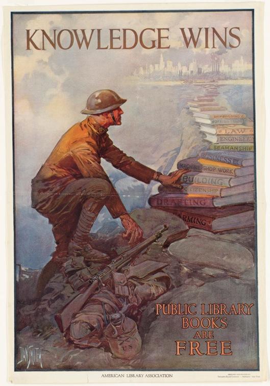 Knowlegde winss. Affiche ter promotie van boeken voor soldaten tijdens WO!
