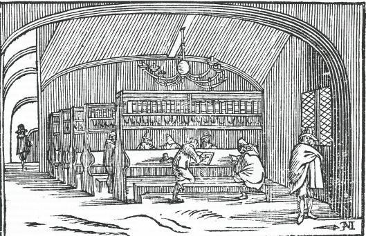 Vignet dat de Amsterdamse boekhandelaar Lodewijk Spillebout tussen 1650 en 159 gebruikte met op deze houtgravure een afbeelding van de stadsbibliotheek