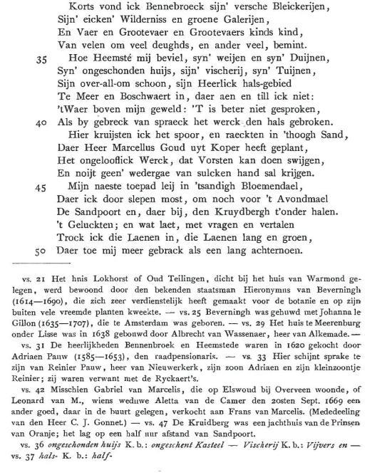 Deel uit Uytwandeling van Constantijn Huygens uit 1669 in de editie Worp, waarin hij Bennebroek, Heemstede en Bloemendaal beschrijft.