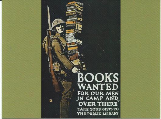 Promotiekaart boeken voor Amerikaanse soldaten