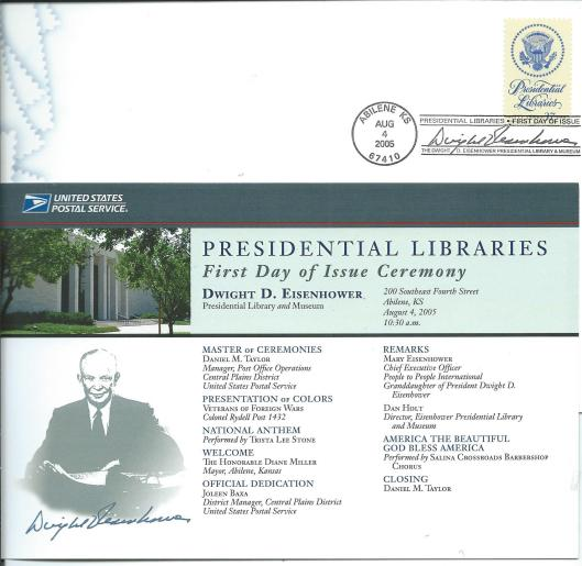 Postage stamp: Presiential libraries; The Dwight D.Eisenhower Presidential Libary & Museum