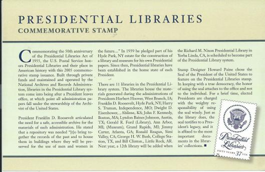 Presidential Libraries: Commemorative Stamp 2005