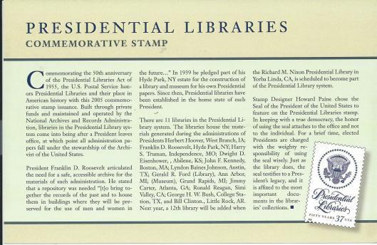 Presidential Libraries: Commemorative Stamp 2005